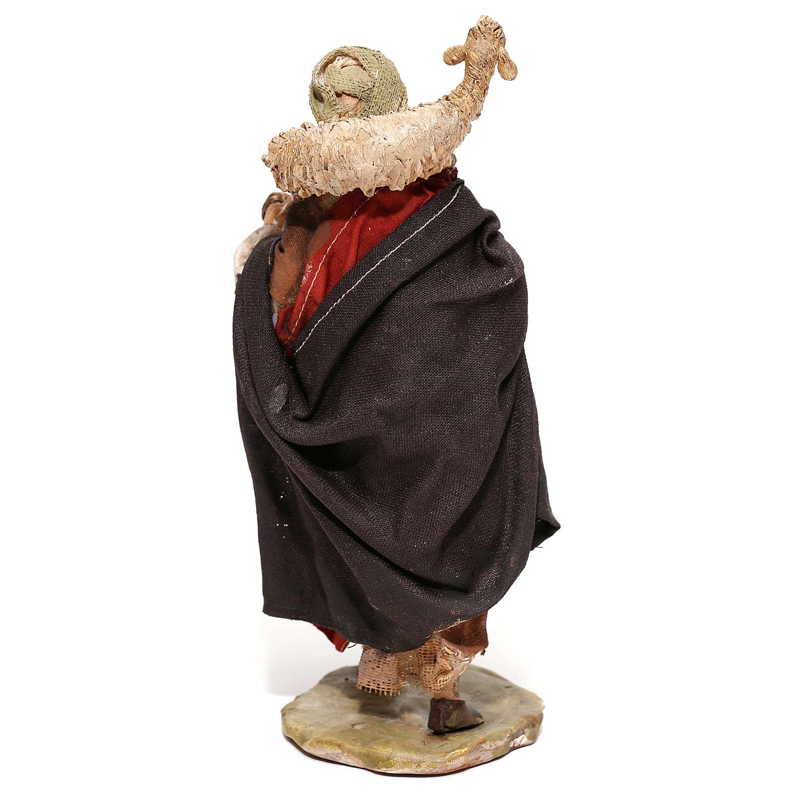 Nativity scene figurine, Shepherd carrying a sheep by Angela Tripi 13 cm 4