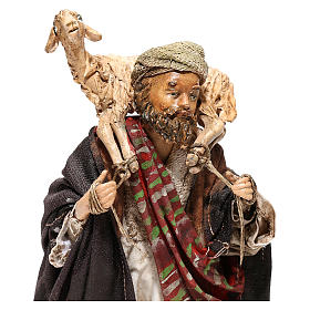 Nativity scene figurine, Shepherd carrying a sheep by Angela Tripi 13 cm s2
