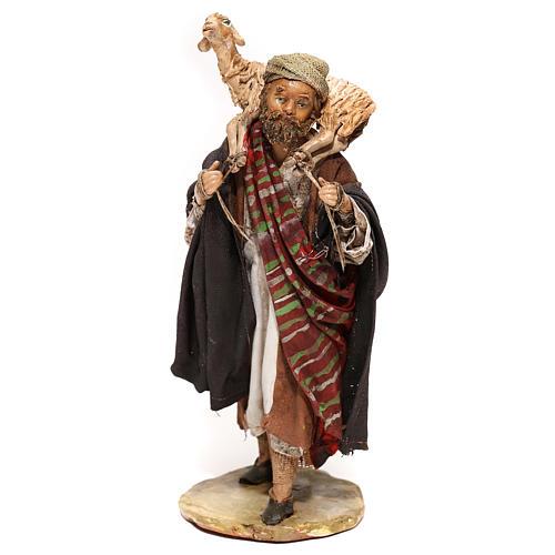 Nativity scene figurine, Shepherd carrying a sheep by Angela Tripi 13 cm 1