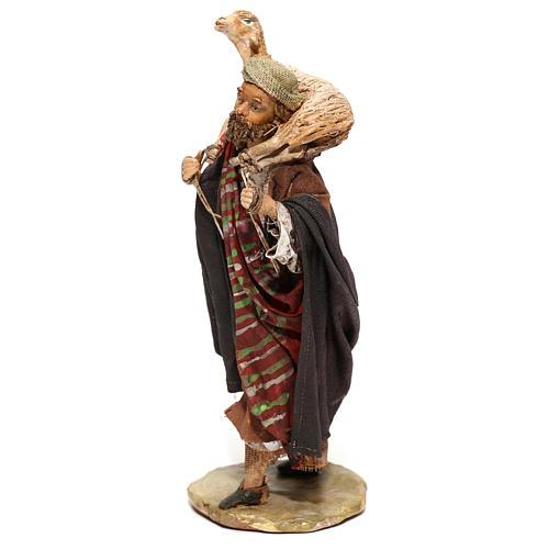 Nativity scene figurine, Shepherd carrying a sheep by Angela Tripi 13 cm 3