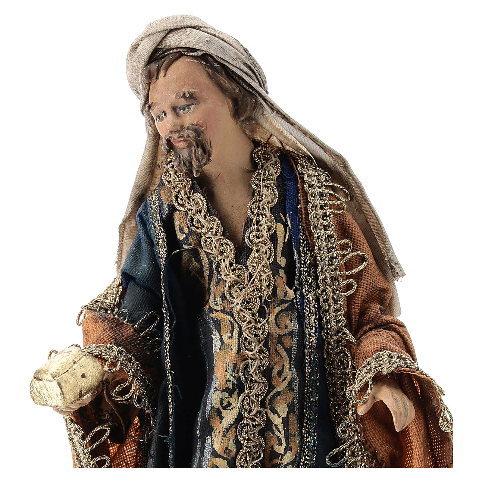 Nativity scene figurine, Magi King with coffer by Angela Tripi 13 cm 4