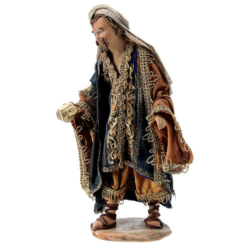Nativity scene figurine, Magi King with coffer by Angela Tripi 13 cm 3