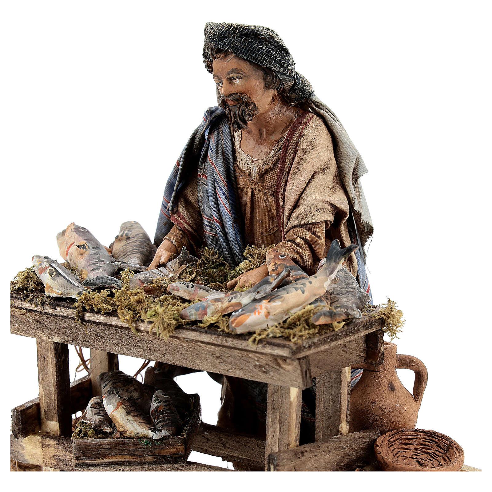 Nativity scene figurine, Fishmonger by Angela Tripi 13 cm 4