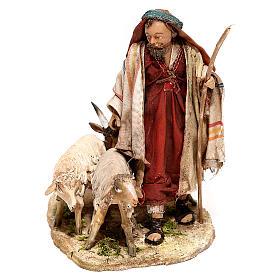 Nativity scene figurine, Shepherd with herd by Angela Tripi 13 cm s1