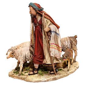 Nativity scene figurine, Shepherd with herd by Angela Tripi 13 cm s2