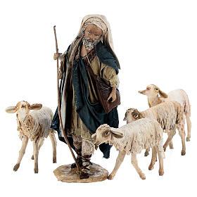 Nativity scene figurine, Shepherd with herd by Angela Tripi 13 cm s9