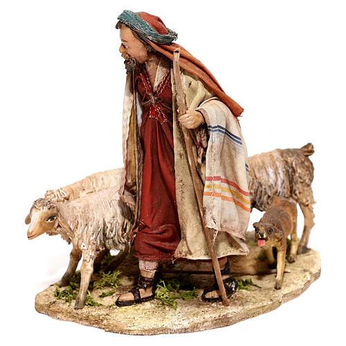 Nativity scene figurine, Shepherd with herd by Angela Tripi 13 cm 2