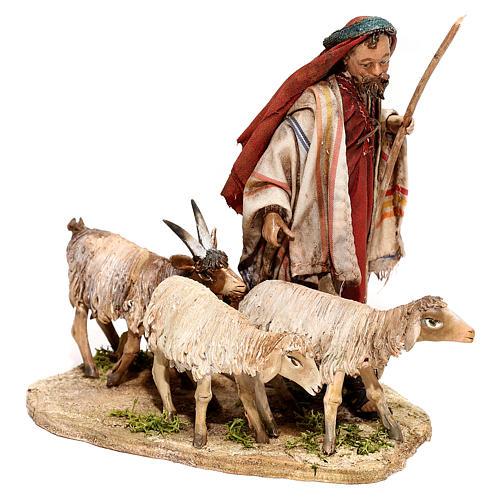 Nativity scene figurine, Shepherd with herd by Angela Tripi 13 cm 3