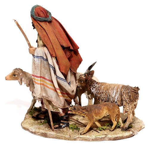 Nativity scene figurine, Shepherd with herd by Angela Tripi 13 cm 5