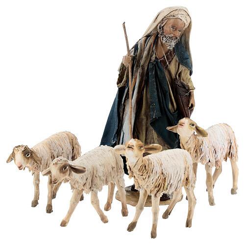 Nativity scene figurine, Shepherd with herd by Angela Tripi 13 cm 1