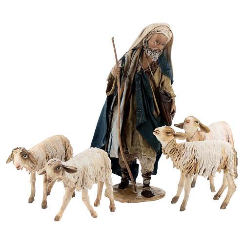 Nativity scene figurine, Shepherd with herd by Angela Tripi 13 cm 4