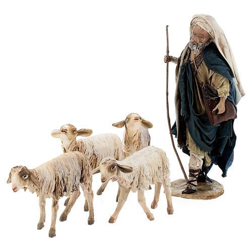 Nativity scene figurine, Shepherd with herd by Angela Tripi 13 cm 6