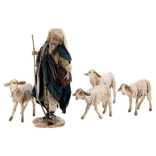 Nativity scene figurine, Shepherd with herd by Angela Tripi 13 cm 8