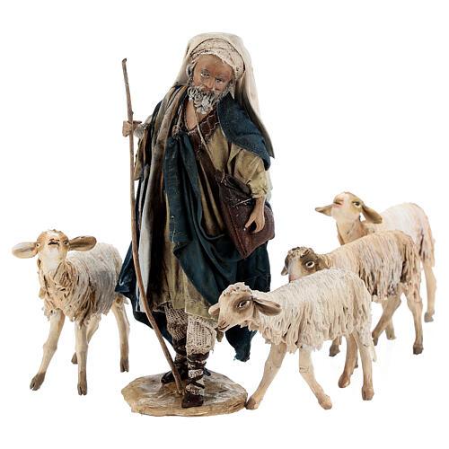 Nativity scene figurine, Shepherd with herd by Angela Tripi 13 cm 9