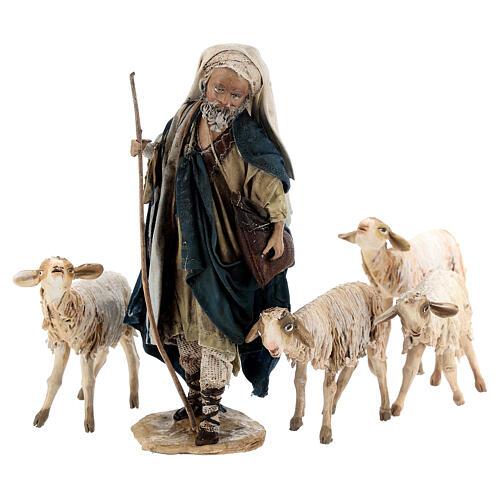 Nativity scene figurine, Shepherd with herd by Angela Tripi 13 cm 10