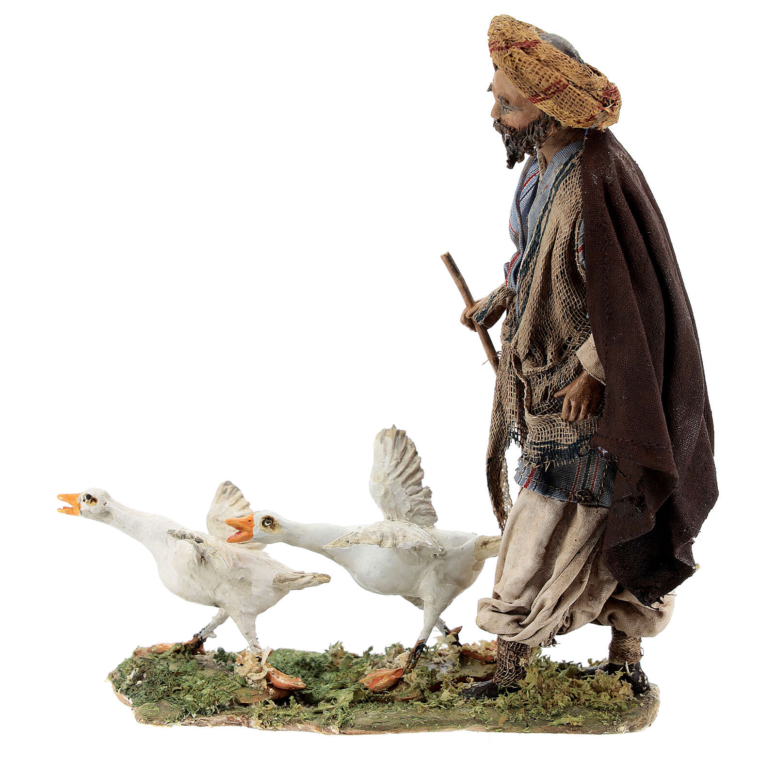 Nativity scene figurine, Man with geese by Angela Tripi 13 cm 4