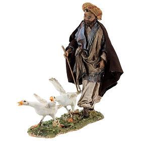 Nativity scene figurine, Man with geese by Angela Tripi 13 cm s1