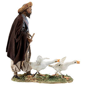Nativity scene figurine, Man with geese by Angela Tripi 13 cm s6