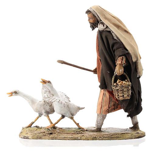 Nativity scene figurine, Man with geese by Angela Tripi 13 cm 1