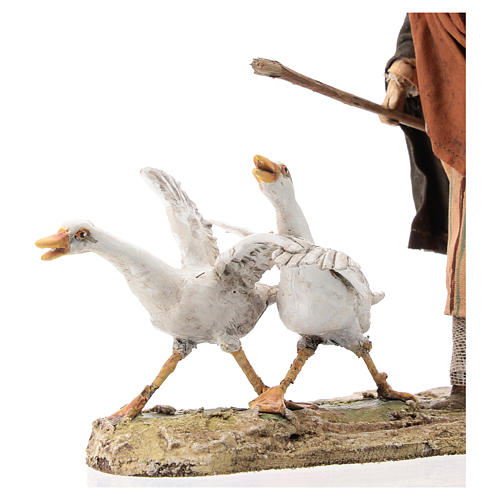 Nativity scene figurine, Man with geese by Angela Tripi 13 cm 2
