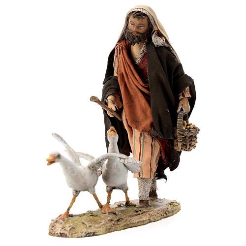 Nativity scene figurine, Man with geese by Angela Tripi 13 cm 6