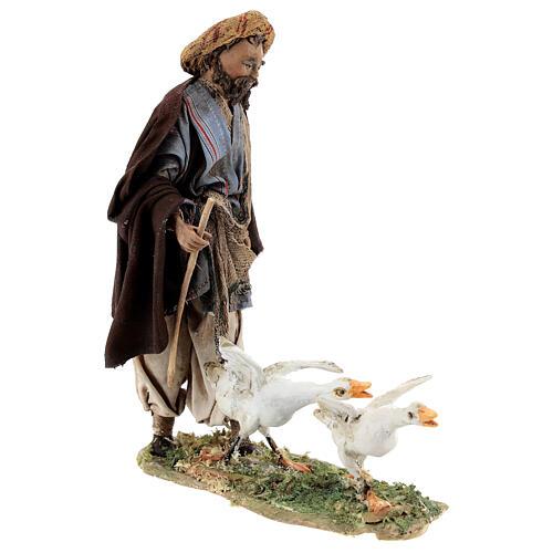 Nativity scene figurine, Man with geese by Angela Tripi 13 cm 5