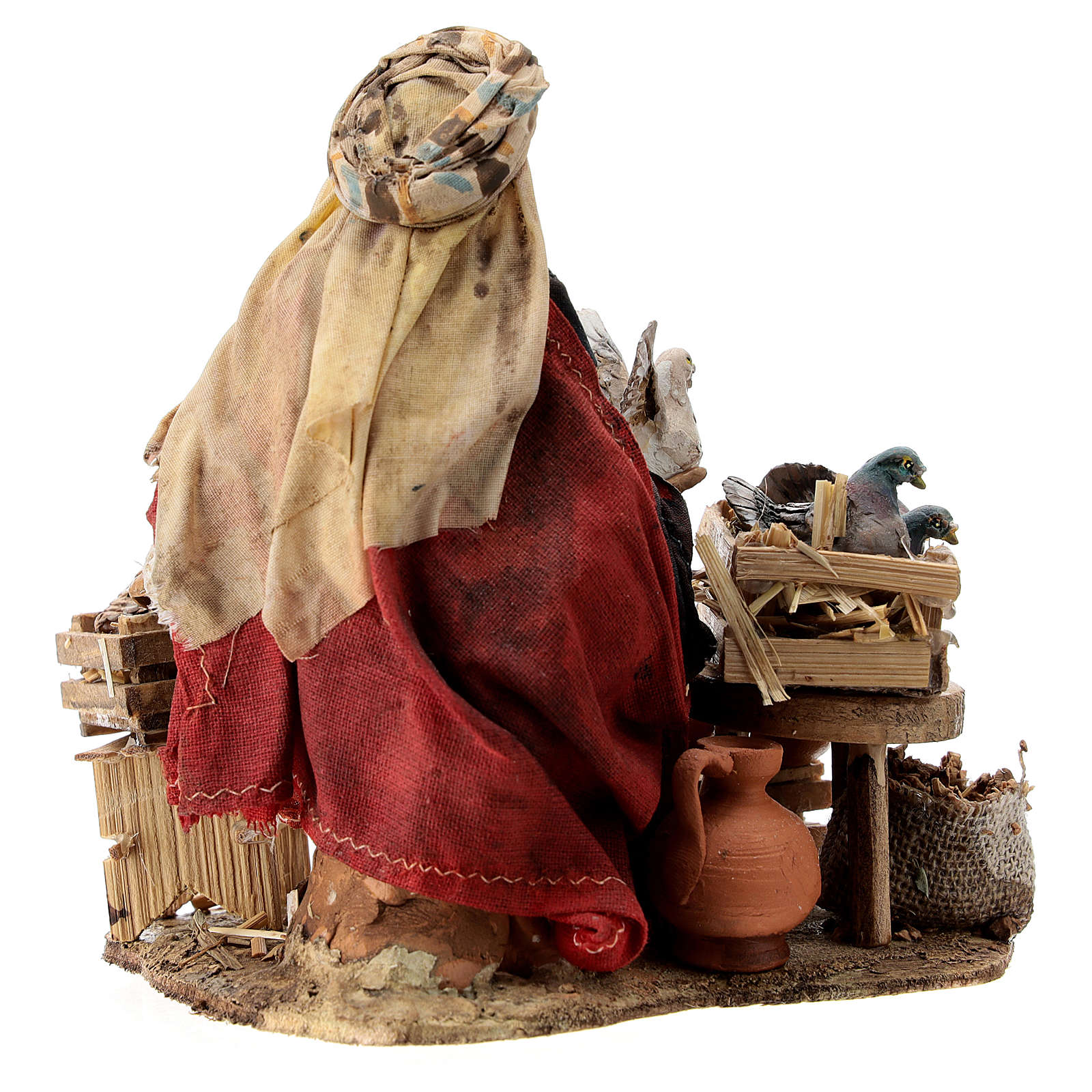 Nativity scene figurine, Bird seller by Angela Tripi 13 cm 4