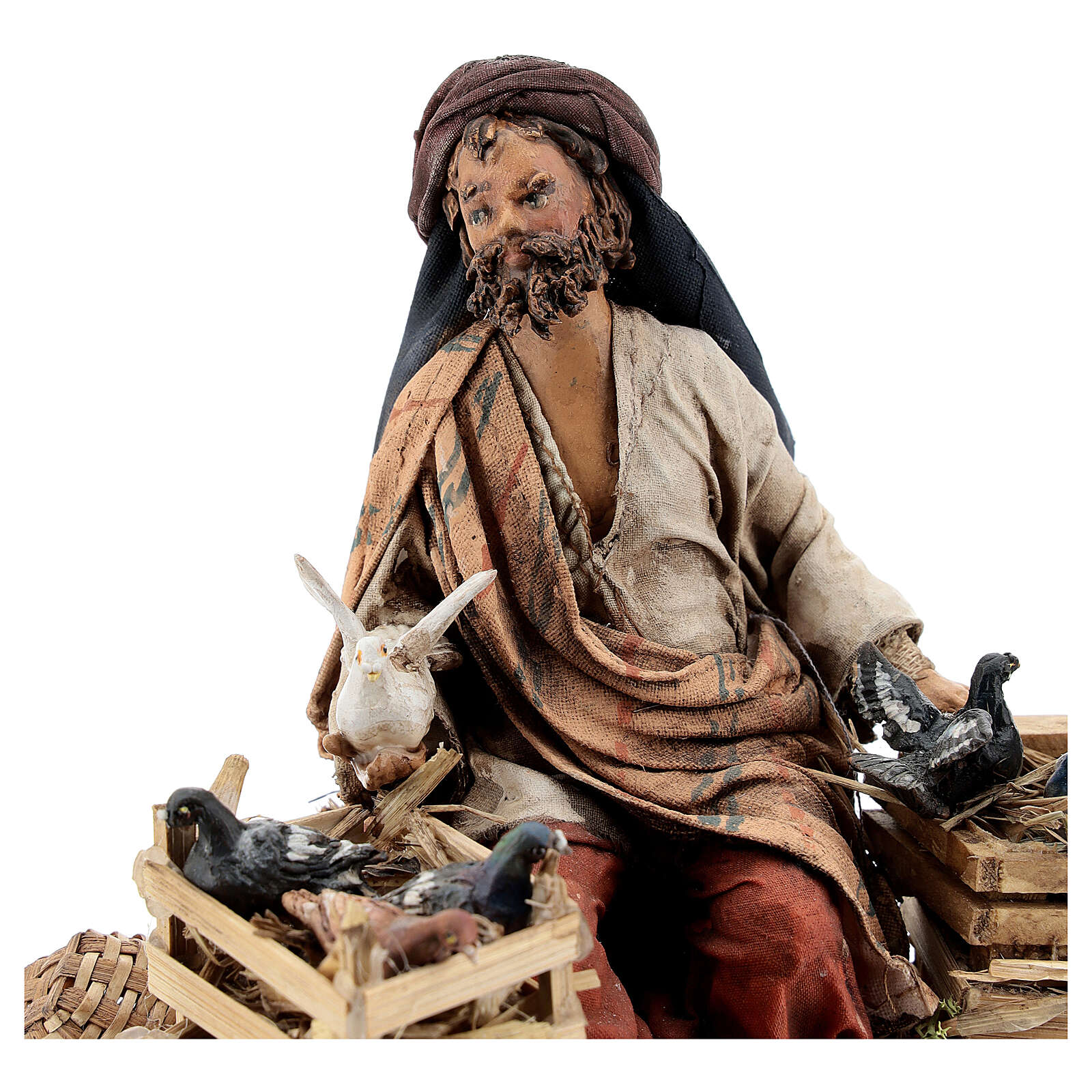 Nativity scene figurine, Bird seller by Angela Tripi 13 cm 4