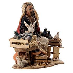 Nativity scene figurine, Bird seller by Angela Tripi 13 cm s5