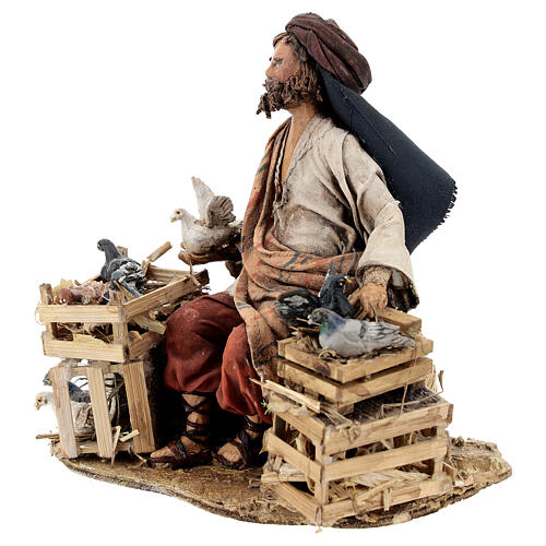 Nativity scene figurine, Bird seller by Angela Tripi 13 cm 3