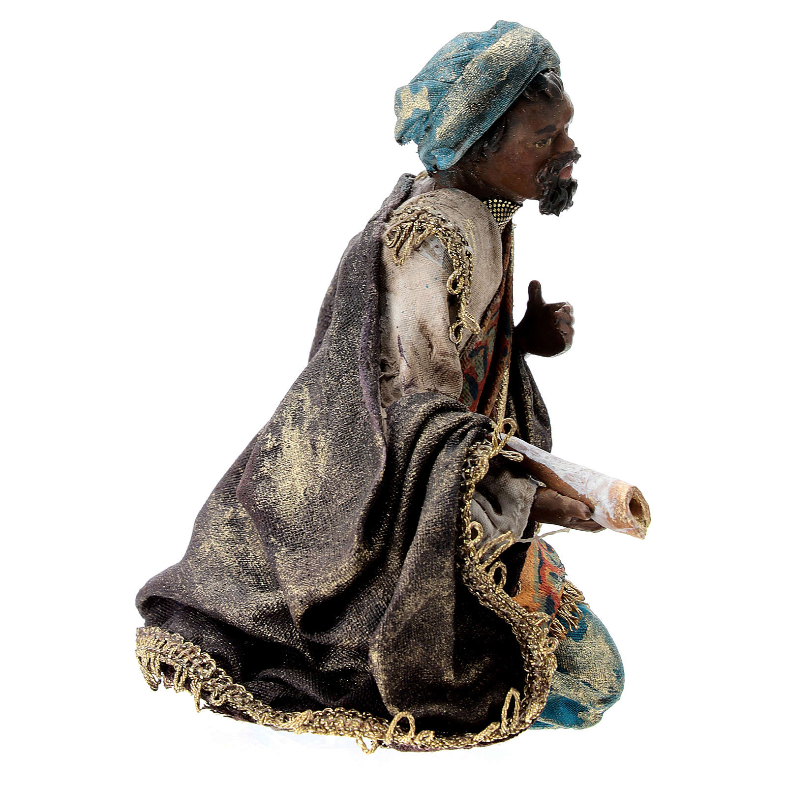 Nativity scene figurine, Dark-skinned King by Angela Tripi 13 cm 4