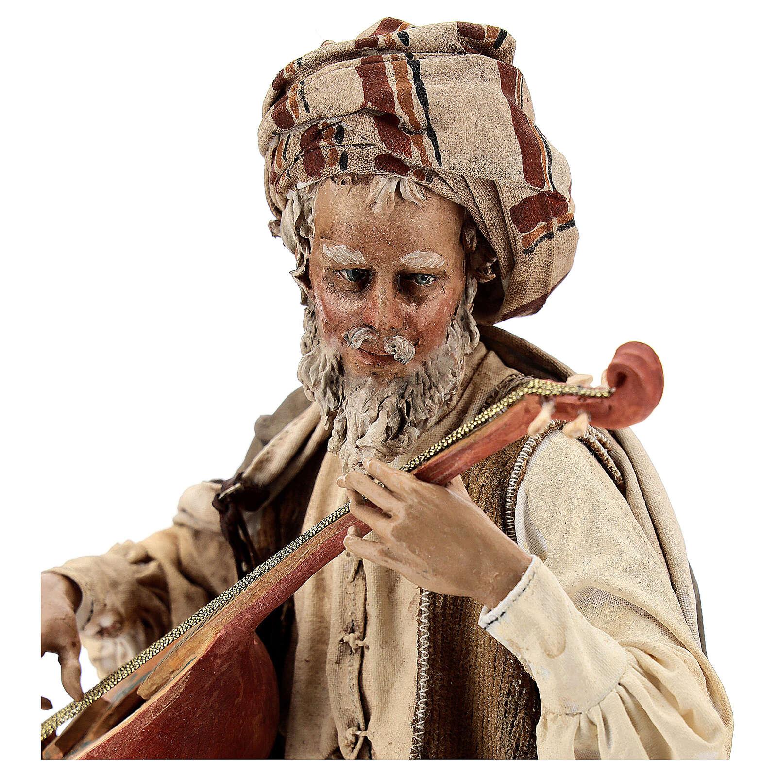 Musicien avec instrument Angela Tripi crèche terre cuite 30 cm 4