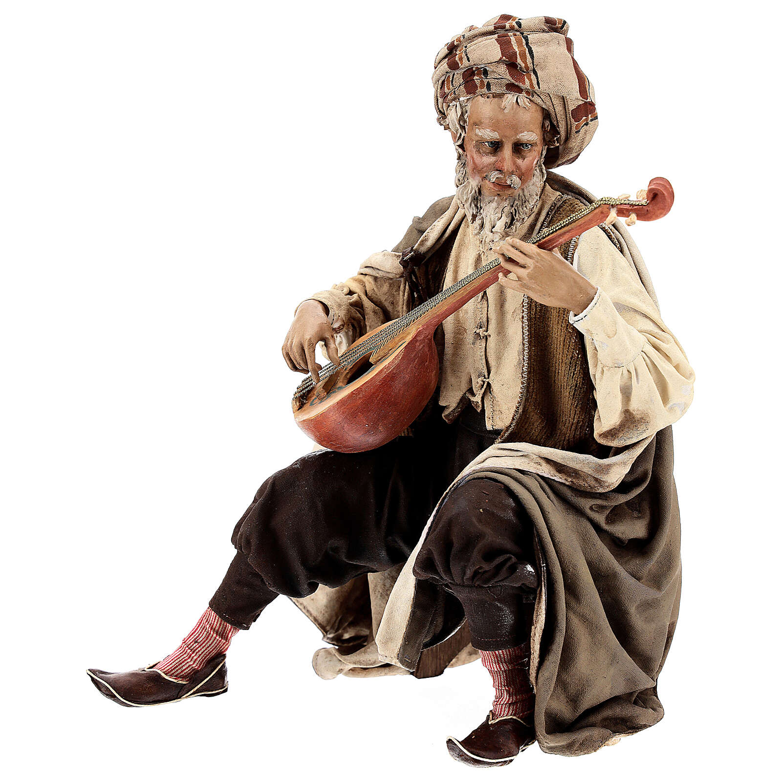 Musician with instrument figurine, Angela Tripi nativity terracotta 30 cm 4