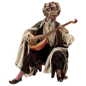 Musician with instrument figurine, Angela Tripi nativity terracotta 30 cm s1