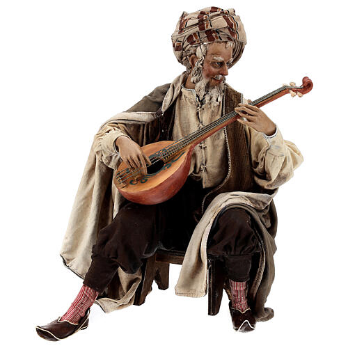 Musician with instrument figurine, Angela Tripi nativity terracotta 30 cm 1