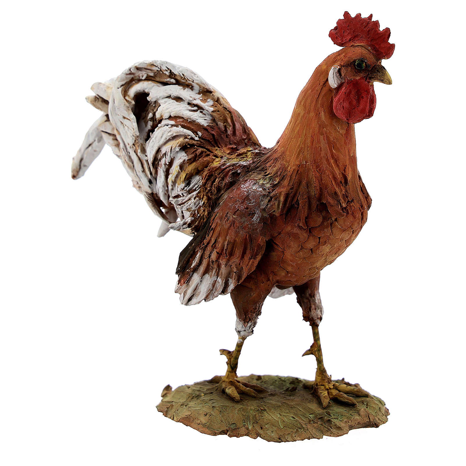 Rooster figurine in terracotta, 30 cm nativity Angela Tripi 4