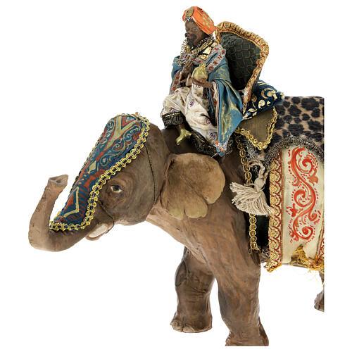 Rey Mago moreno y elefante 13 cm Angela Tripi 2