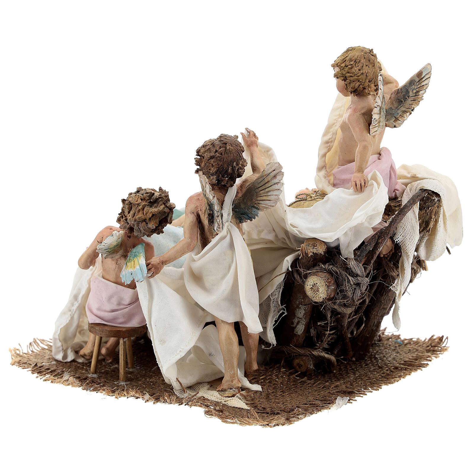 Berço Menino Jesus com anjos para presépio Angela Tripi com figuras de altura média 30 cm 4