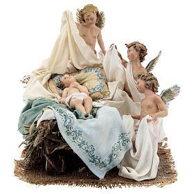Berço Menino Jesus com anjos para presépio Angela Tripi com figuras de altura média 30 cm s1