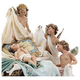 Berço Menino Jesus com anjos para presépio Angela Tripi com figuras de altura média 30 cm s2