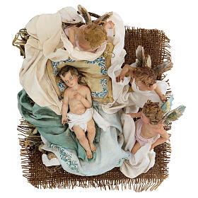 Berço Menino Jesus com anjos para presépio Angela Tripi com figuras de altura média 30 cm s4