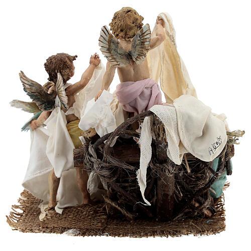 Berço Menino Jesus com anjos para presépio Angela Tripi com figuras de altura média 30 cm 7