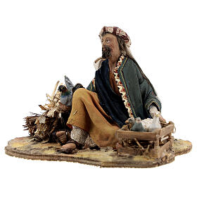 Pastore seduto con colombe 13 cm presepe Tripi s3