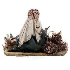 Pastore seduto con colombe 13 cm presepe Tripi s6