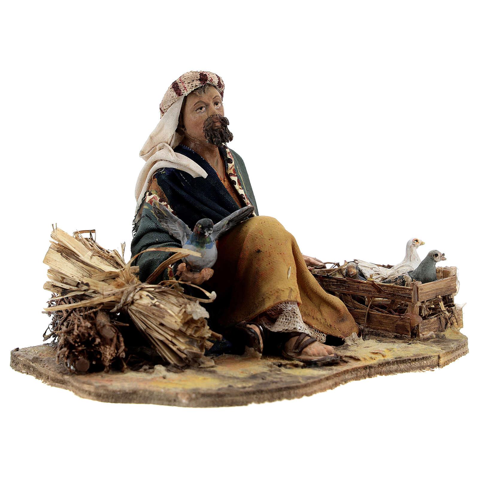 Shepherd sitting with doves, 13 cm Tripi nativity 4