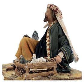 Shepherd sitting with doves, 13 cm Tripi nativity s4