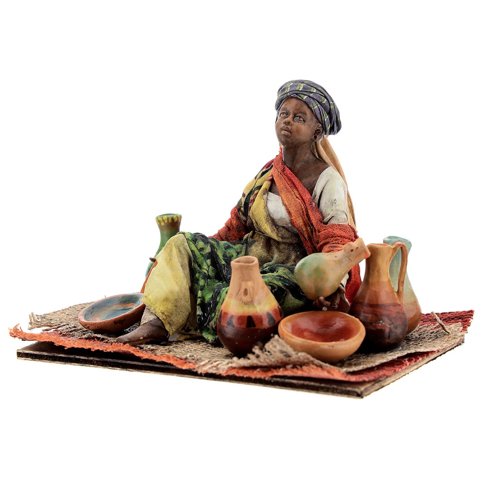 Moor woman sitting with ceramics, 18 cm Tripi nativity 4