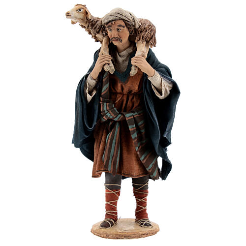 Wanderer with sheep on shoulders, 18 cm Tripi nativity 1