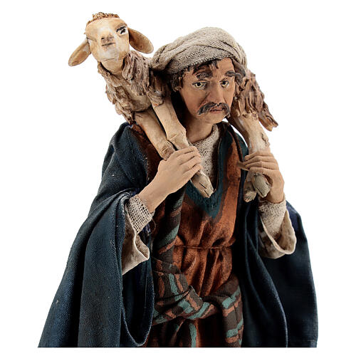 Wanderer with sheep on shoulders, 18 cm Tripi nativity 2