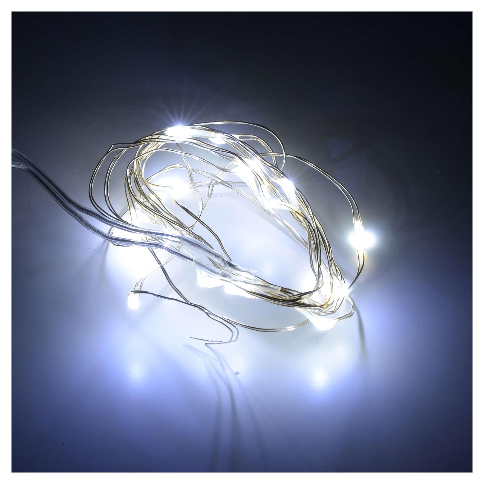 Luci Natale 20 led filo nudo bianco freddo per interno a batteri 3